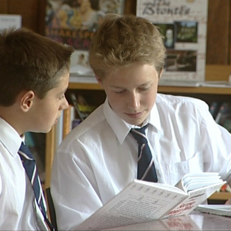 boys studying in the library at Monkton Combe School